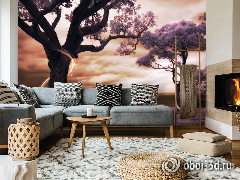 3D Фотообои «Фиолетовые деревья» вид 6