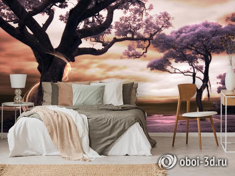 3D Фотообои «Фиолетовые деревья» вид 3