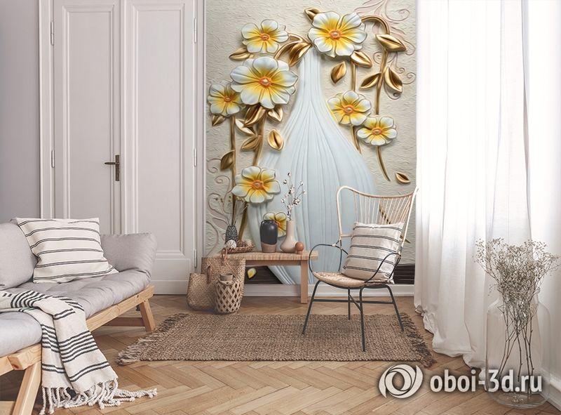 3D Фотообои  «Объемная ваза с цветами»  вид 9