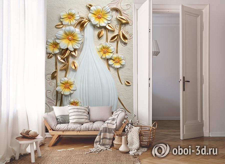 3D Фотообои  «Объемная ваза с цветами»  вид 8
