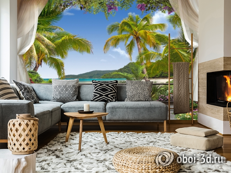 3D Фотообои «Пальмы на берегу океана» вид 5