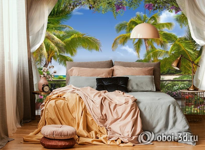 3D Фотообои «Пальмы на берегу океана» вид 4