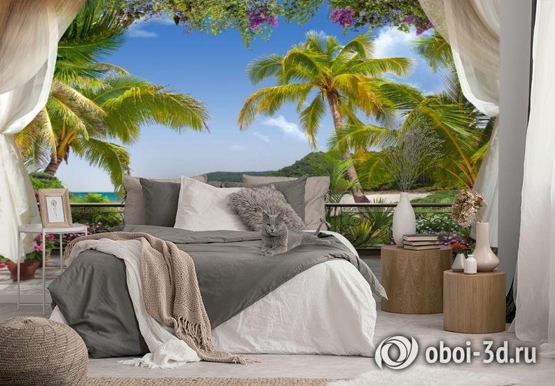 3D Фотообои «Пальмы на берегу океана» вид 2