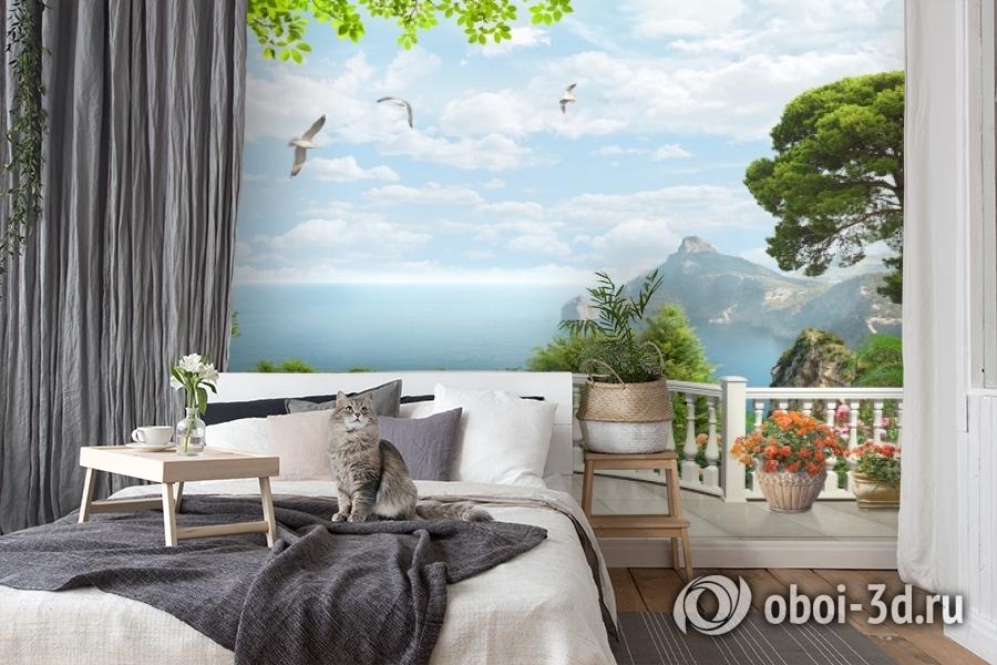 3D Фотообои «Вид на залив с белого балкона» вид 7