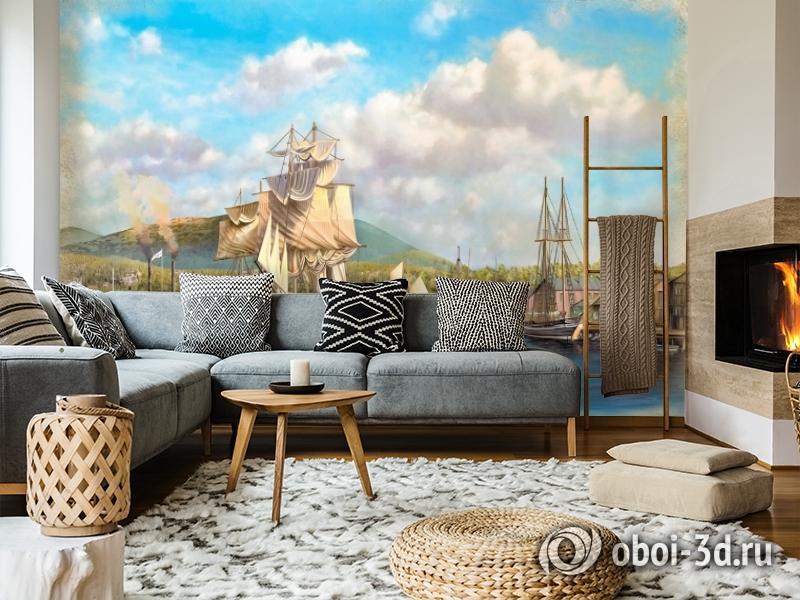 3D Фотообои «Парусники в порту» вид 5
