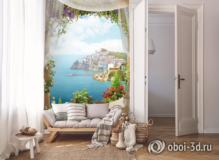 3D Фотообои «Скалистый берег с домами» вид 8