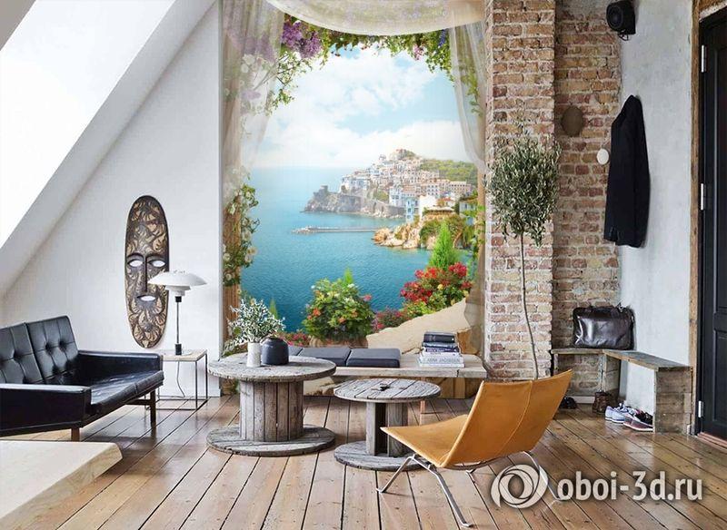 3D Фотообои «Скалистый берег с домами» вид 7