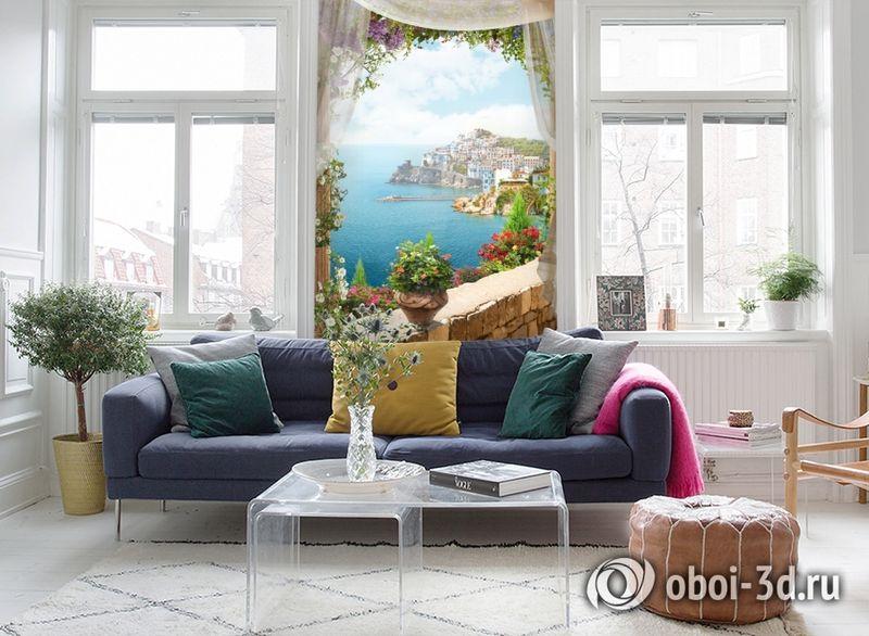 3D Фотообои «Скалистый берег с домами» вид 5