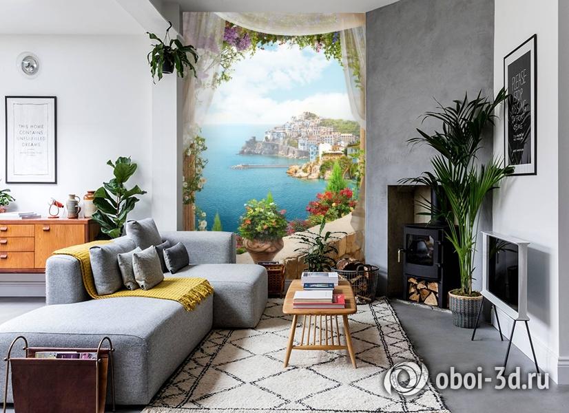 3D Фотообои «Скалистый берег с домами» вид 2