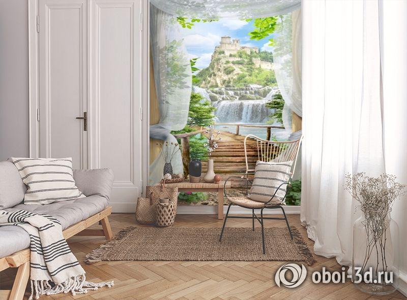 3D Фотообои «Замок над водопадом» вид 9