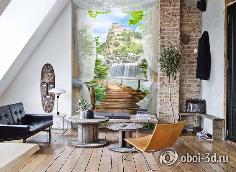 3D Фотообои «Замок над водопадом» вид 7