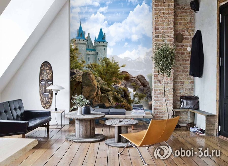3D Фотообои «Водопад в скалах» вид 7