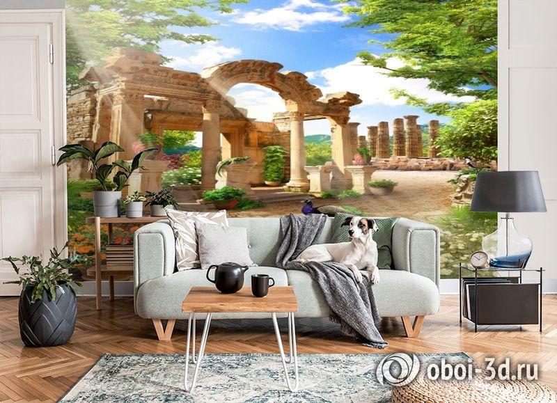3D Фотообои «Развалины в саду» вид 6
