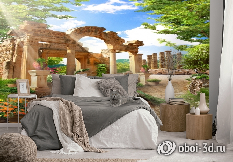 3D Фотообои «Развалины в саду» вид 2