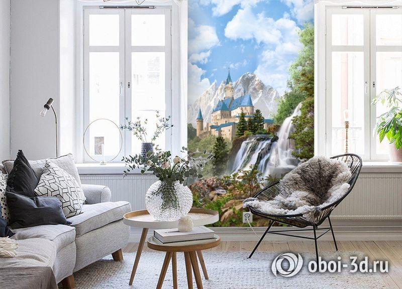 3D Фотообои «Замок в скалистых горах» вид 4