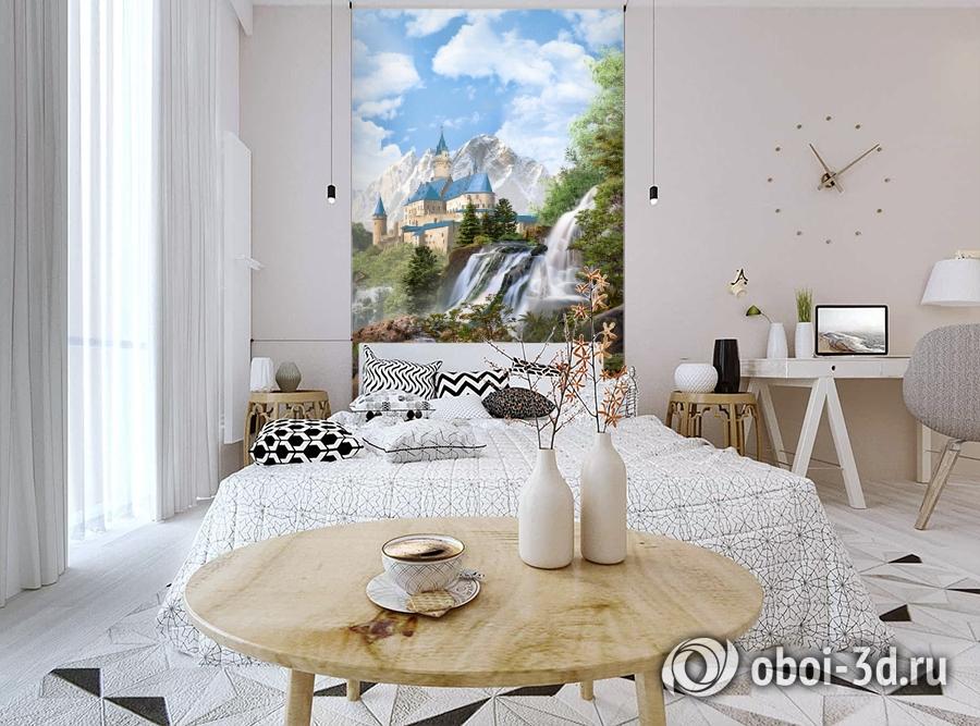 3D Фотообои «Замок в скалистых горах» вид 3