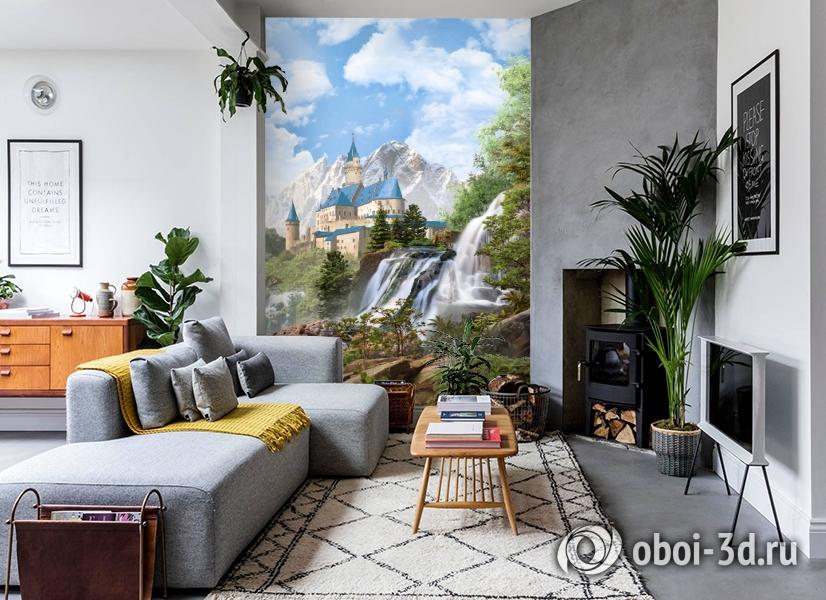 3D Фотообои «Замок в скалистых горах» вид 2