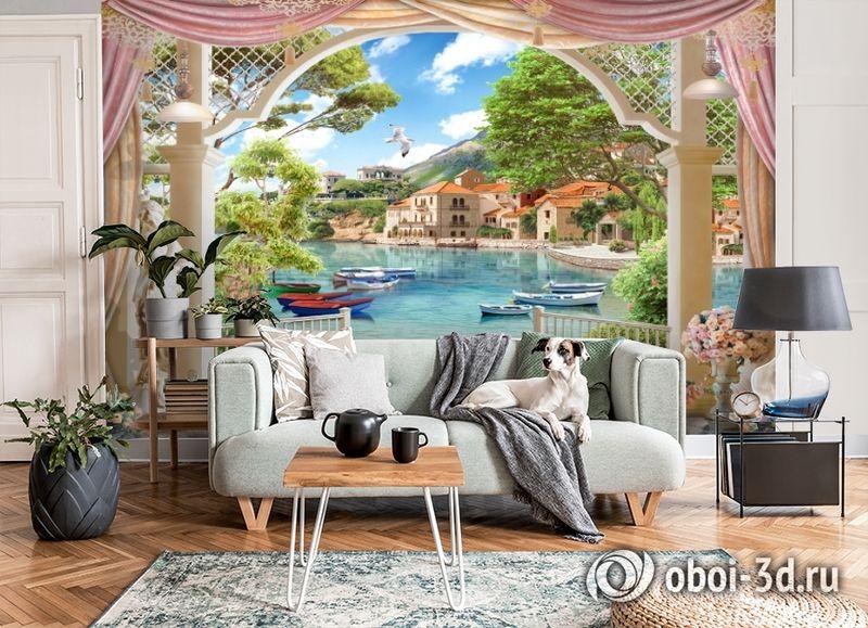 3D Фотообои «Веранда с видом на лодки в заливе» вид 6