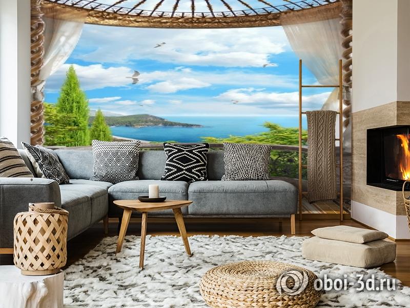3D Фотообои «Балкон с видом на океан» вид 5