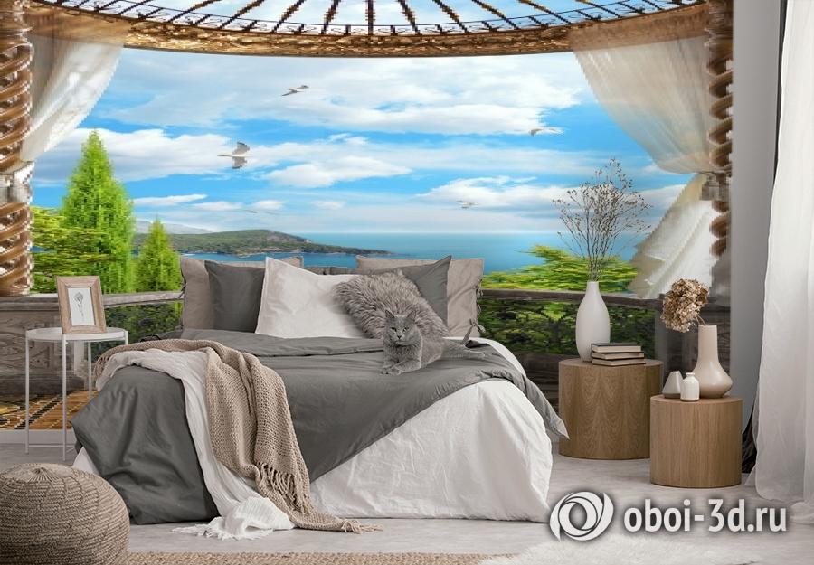 3D Фотообои «Балкон с видом на океан» вид 2