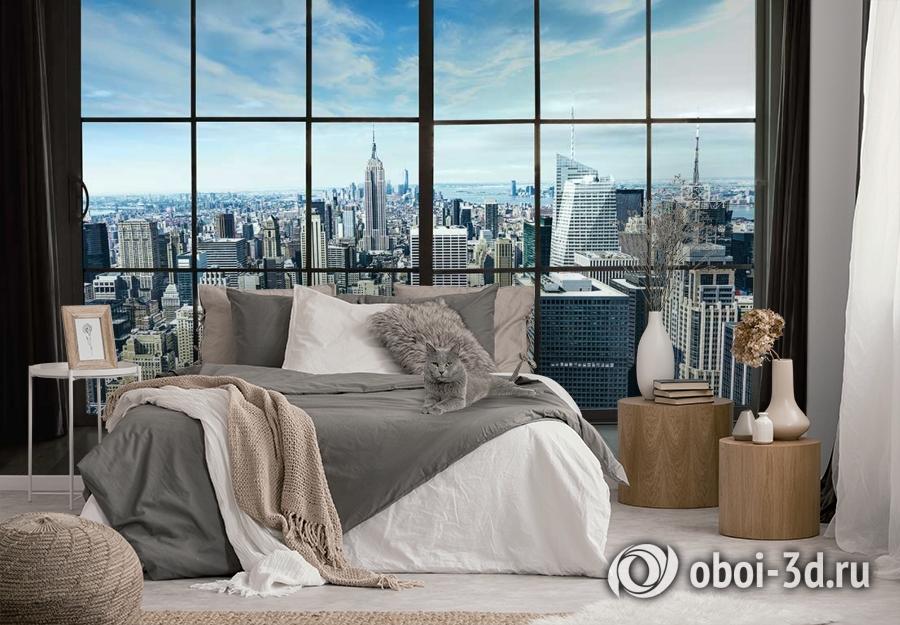 3D Фотообои «Вид из окна на современный город» вид 3