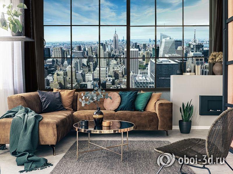 3D Фотообои «Вид из окна на современный город» вид 2