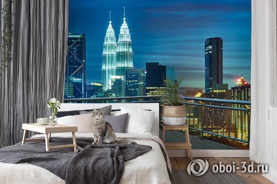 3D Фотообои «Вид  с  балкона на ночной город» вид 7