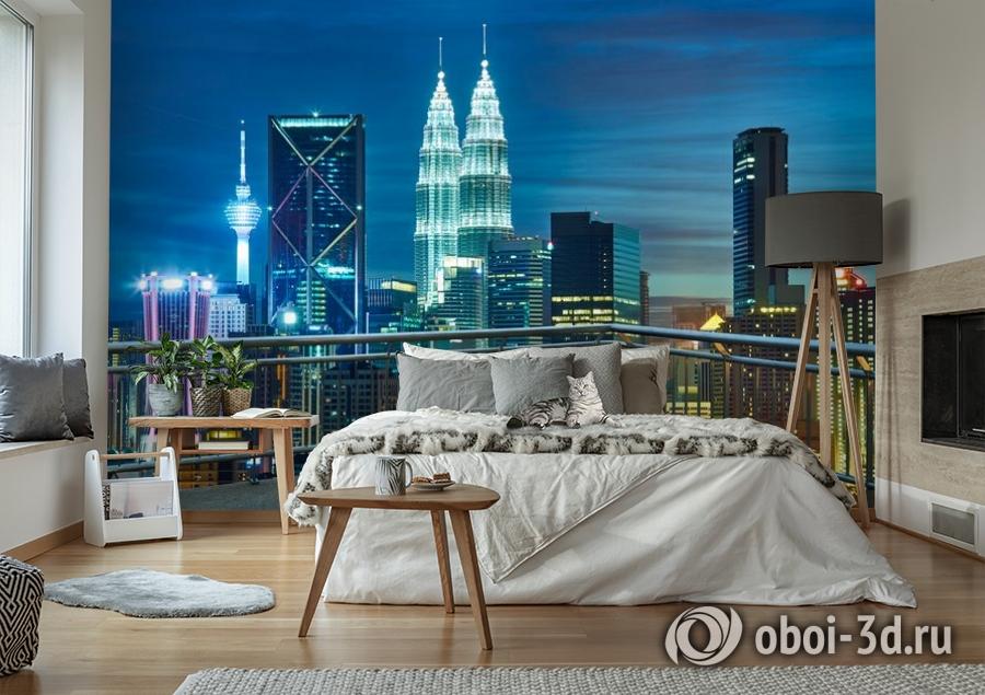 3D Фотообои «Вид  с  балкона на ночной город» вид 6