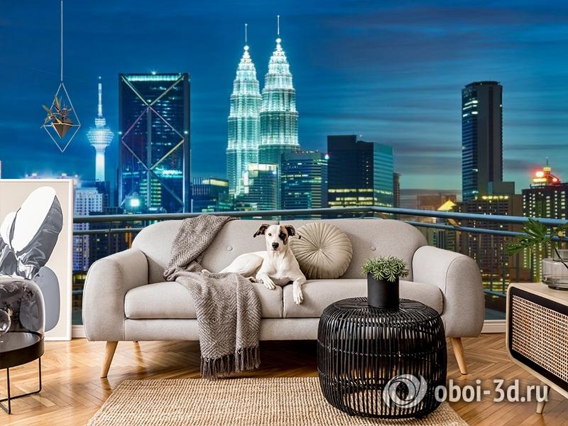 3D Фотообои «Вид  с  балкона на ночной город» вид 5