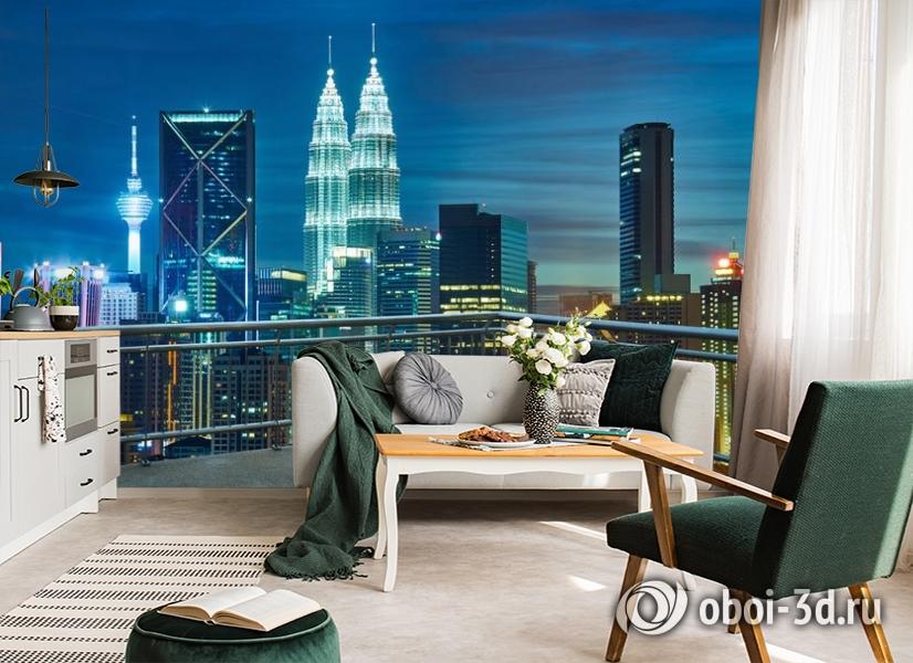 3D Фотообои «Вид  с  балкона на ночной город» вид 4