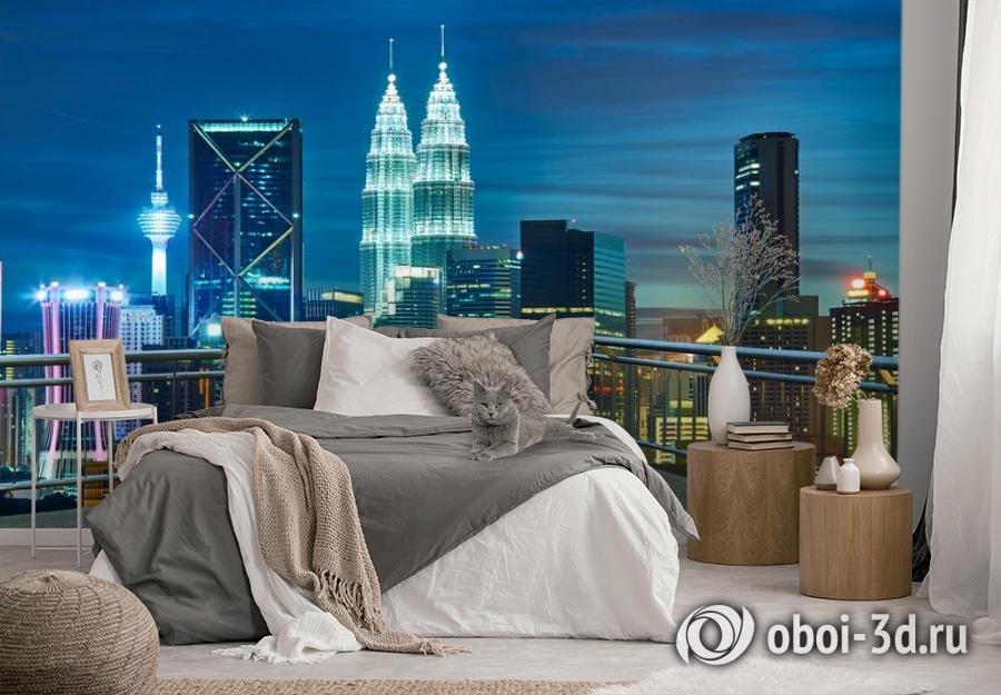 3D Фотообои «Вид  с  балкона на ночной город» вид 3