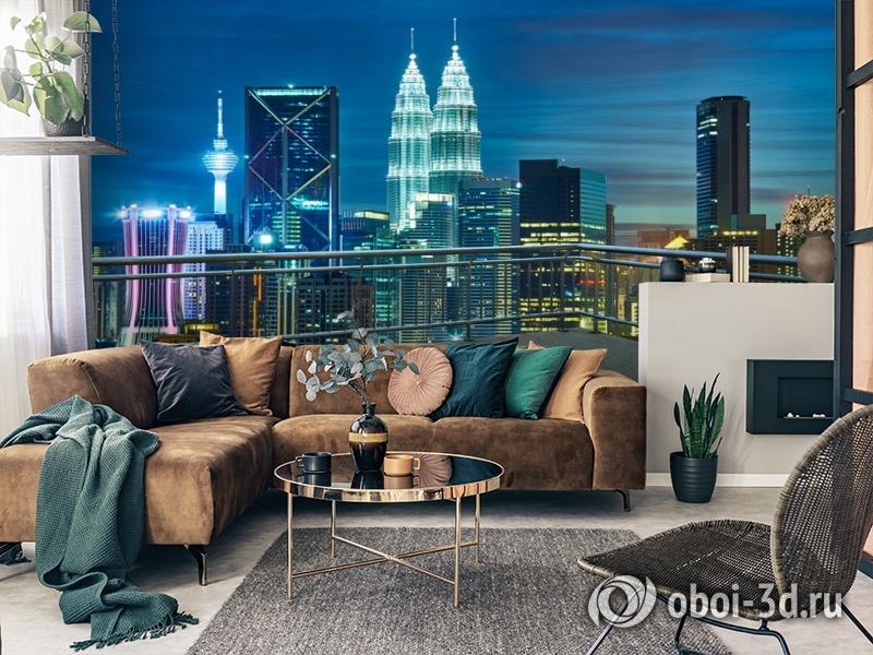 3D Фотообои «Вид  с  балкона на ночной город» вид 2
