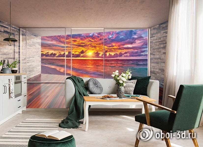 3D Фотообои «Вид с террасы на закат» вид 4