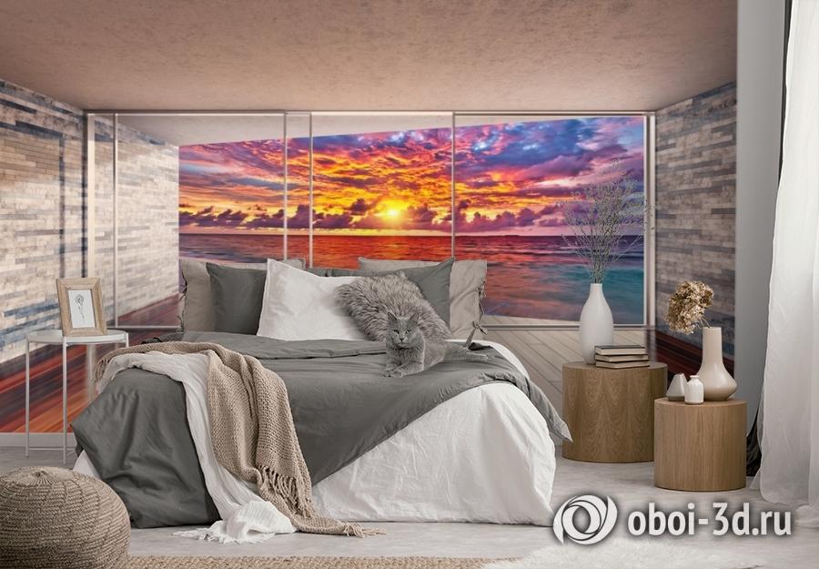 3D Фотообои «Вид с террасы на закат» вид 3