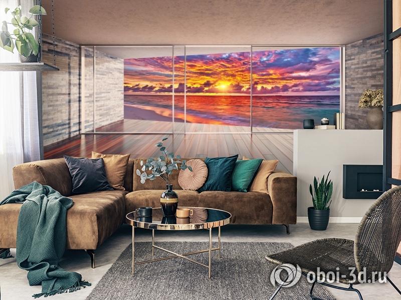 3D Фотообои «Вид с террасы на закат» вид 2