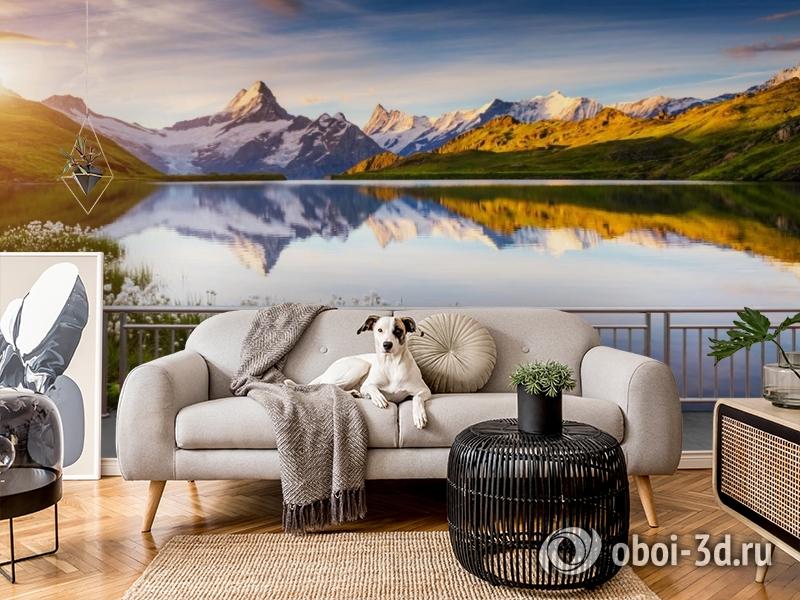 3D Фотообои «Терраса перед горным озером» вид 5