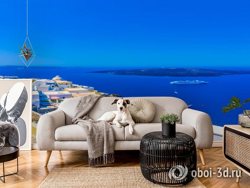 3D Фотообои «Вид с балкона на Санторини» вид 5
