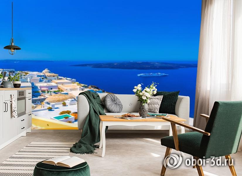3D Фотообои «Вид с балкона на Санторини» вид 4