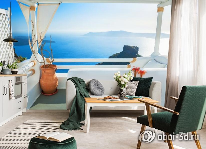 3D Фотообои «Балкончик на берегу лазурного моря» вид 4