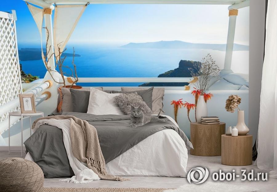 3D Фотообои «Балкончик на берегу лазурного моря» вид 3