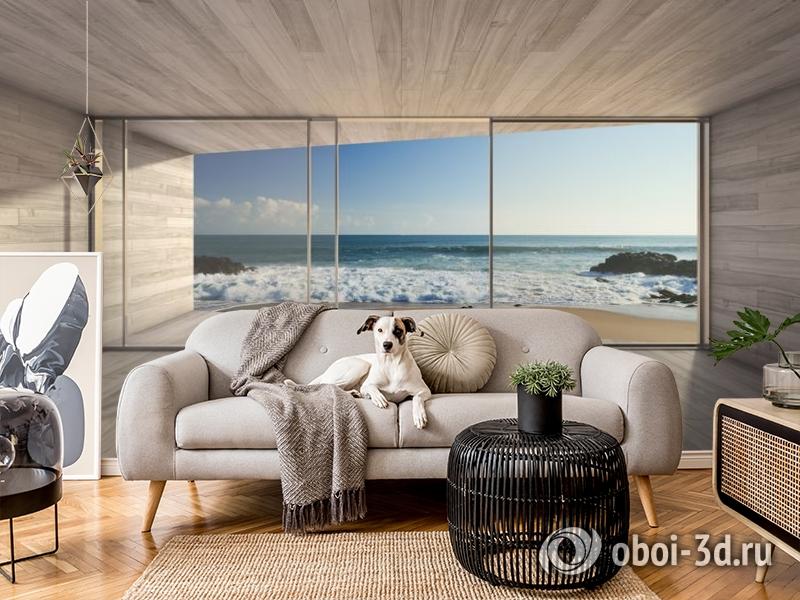 3D Фотообои «Вид из окна на прибой» вид 5