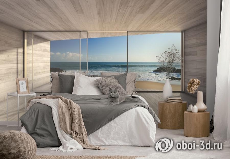 3D Фотообои «Вид из окна на прибой» вид 3