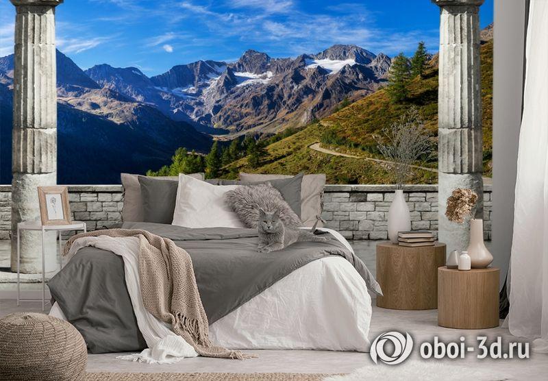 3D Фотообои «Вид на горные вершины» вид 3