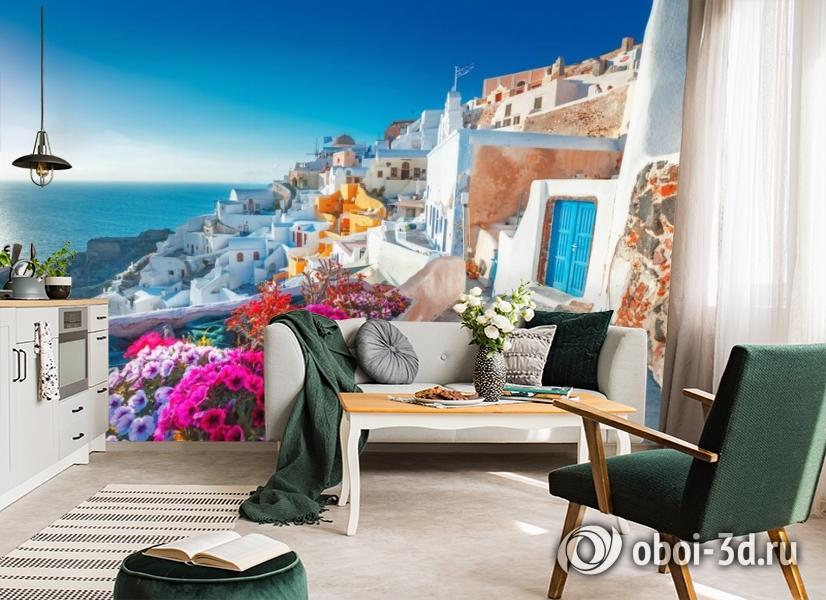 3D Фотообои «Горшки с цветами на террасе» вид 4