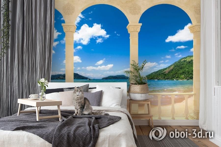 3D Фотообои «Терраса с арками на берегу моря» вид 7