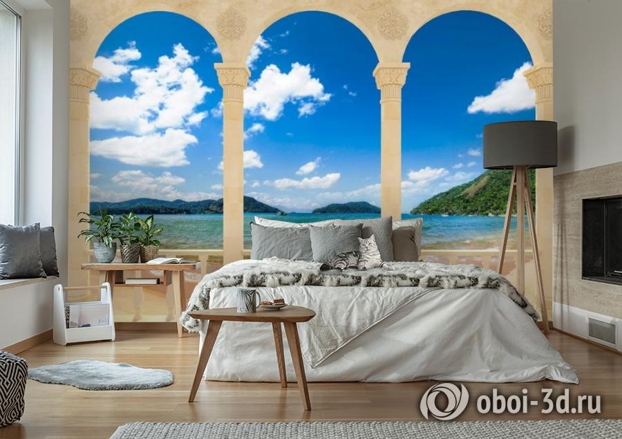 3D Фотообои «Терраса с арками на берегу моря» вид 6