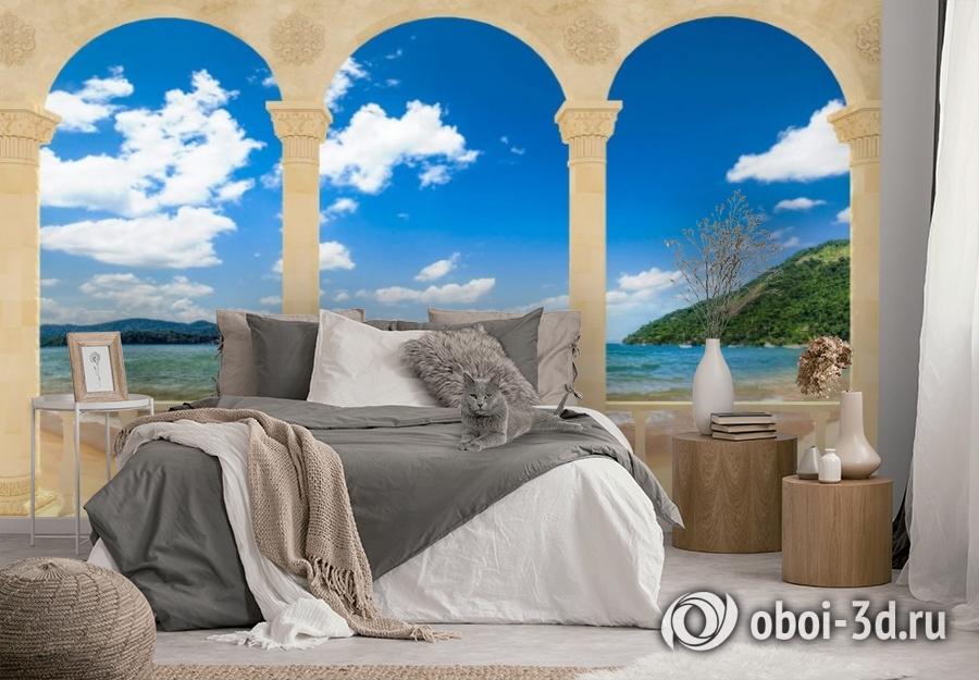 3D Фотообои «Терраса с арками на берегу моря» вид 3