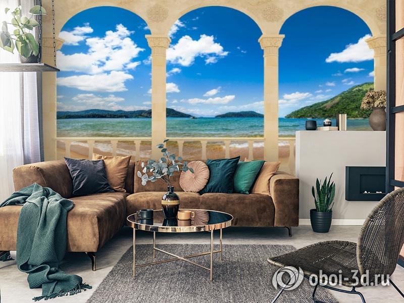 3D Фотообои «Терраса с арками на берегу моря» вид 2