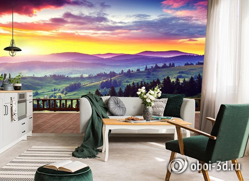 3D Фотообои «Вид на холмы. Закат» вид 4