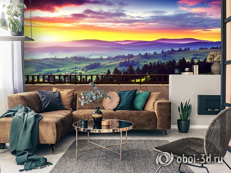 3D Фотообои «Вид на холмы. Закат» вид 2